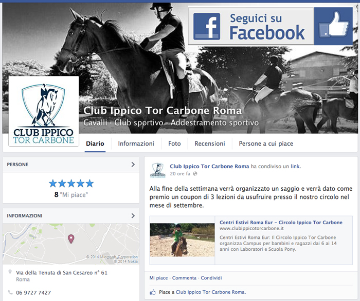 Fan Page Facebook del Club Ippico Tor Carbone